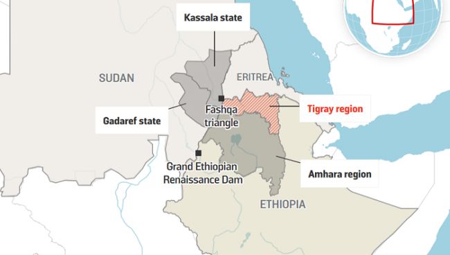 Border dispute Ethiopia Sudan - Source Kichuu