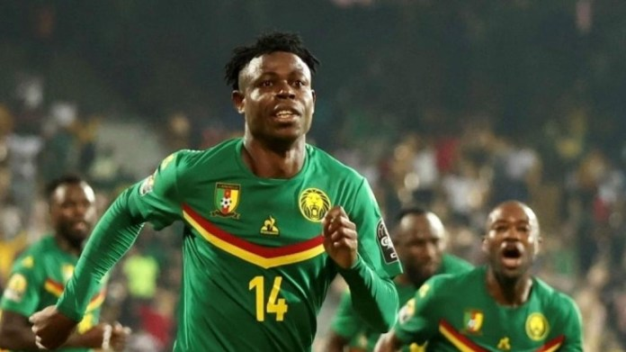 Cameroonian players celebrate lone goal in opening game victory of CHAN2020 - Photo Newspage