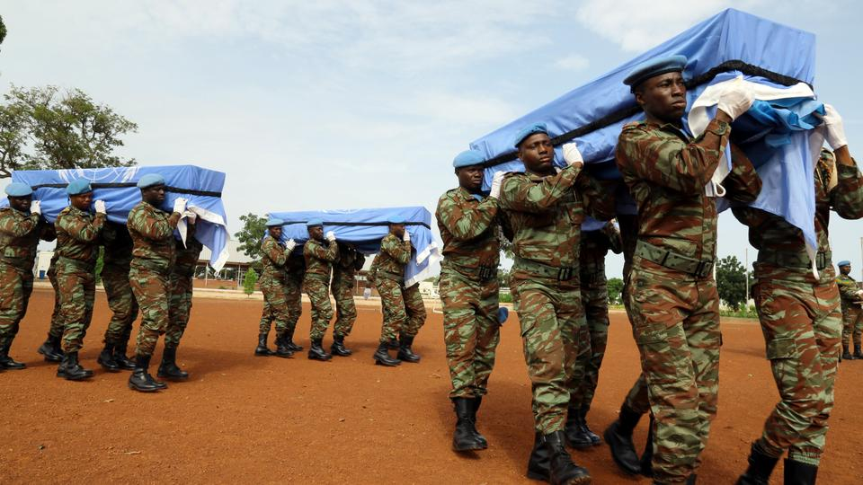 Caskets of three UN Peacekeepers killed in northern Mali