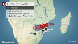 Cyclone Eloise's Path - Source AccuWeather