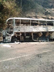 Charred Bus Remains