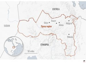 Hunger hotspots in Tigray - Source The Connecticut Post
