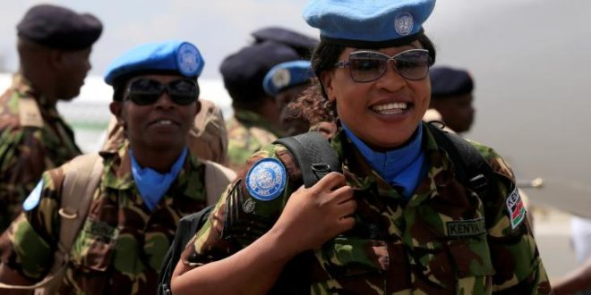 Female Kenyan peacekeepers returning from mission in Sudan