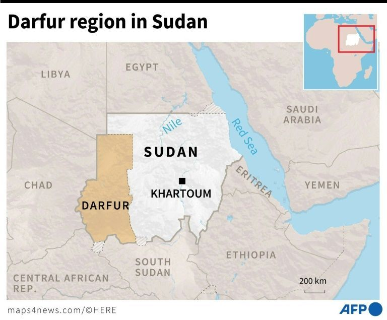 Locating Darfur in Sudan - Source AFP