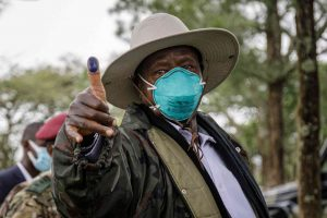Museveni thumbs-up after casting his ballot