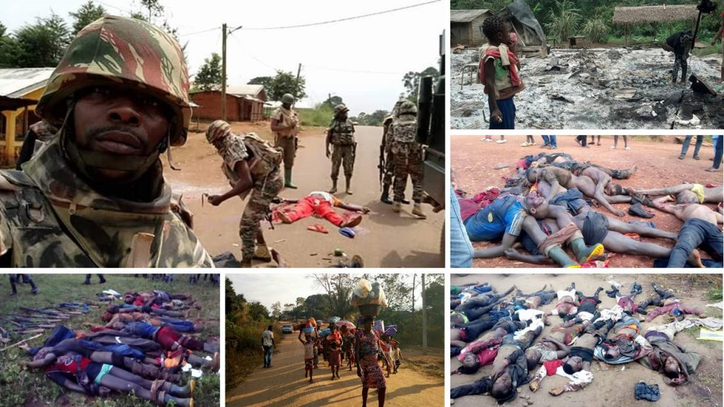 Montage of pictures highlighting genocide in Ambazonia