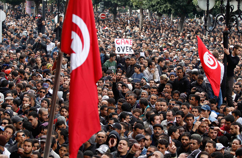 Protests in the streets of Tunis - Photo Boston.com