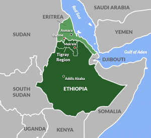 Location of Ethiopia in the Horn of Africa