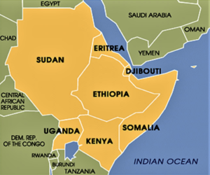 Location of Djibouti in the Horn of Africa