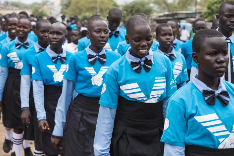 South Sudanese Students Marching Past