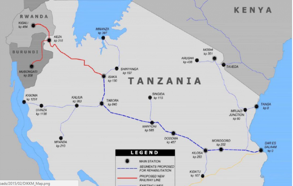 Tanzania Railway Network - Source SkyScraperCity