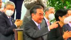 Chinese FM Wang Yi Without Mask in Tanzania