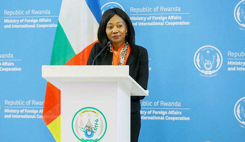 CAR Foreign Minister Sylvie Baipo Temon at Press Briefing, Kigali, 8 Feb 2021 - Photo The New Times