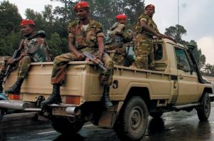 Ethiopian Troops Patrolling a Street in Tigray on a Pickup Truck - Photo The Art Newspaper