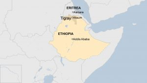 Locating Aksum on the Horn of Africa - Source BBC