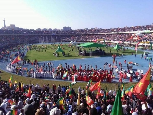 Protesters in a Stadium in Mekelle - Photo Borkena Ethiopian News