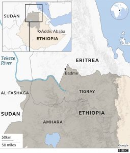 Sudan-Ethiopia Border Dispute at the Al-Fashaga Triangle - Source Google Maps