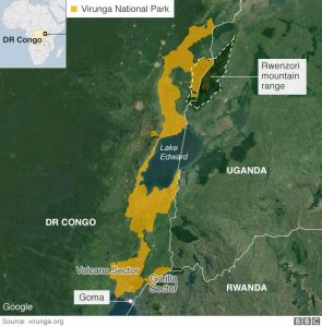 Virunga National Park - Source Google Maps