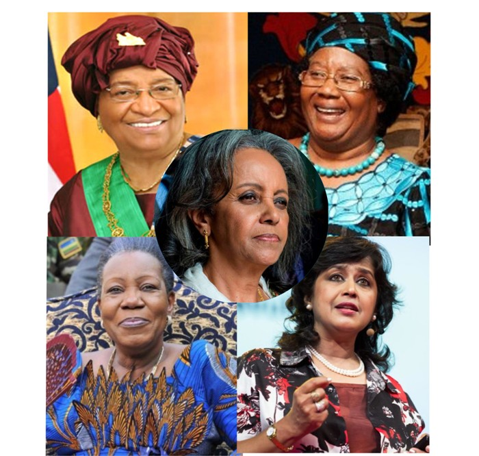 Clockwise from Bottom Right - Gurib-Fakim, Samba-Panza, Johnson Sirleaf, Joyce Banda, Shale-Work Zewde (Middle) - Photo Montage Expressive Info