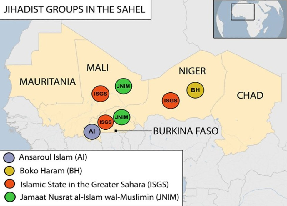 Armed Groups in the Sahel - Source BBC