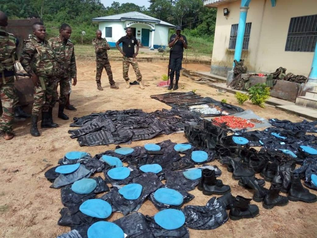 BIR Officers Inspect Military-Style Gear Reportedly Seized from Ambazonian Restoration Forces