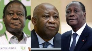 Bedie (L), Gbagbo and Ouattara (R) - Photo Notre Voie News