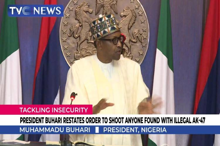 Buhari Reiterates Order to Shoot Persons Illegally Bearing an AK47 - Photo TVC News