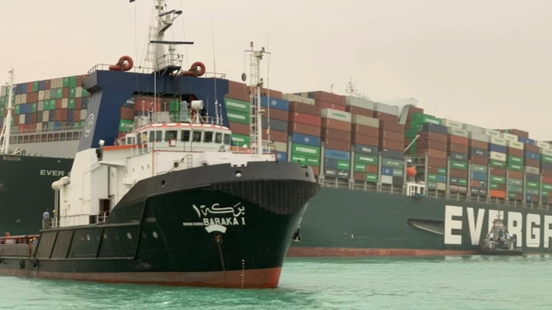 Ever Green Stuck in the Suez Canal - Photo ABC7