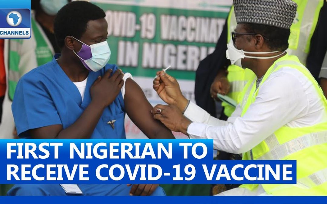 First Nigerian to Receive COVID-19 Vaccine Dr. Cyprian Nyong - YouTube ScreenShot