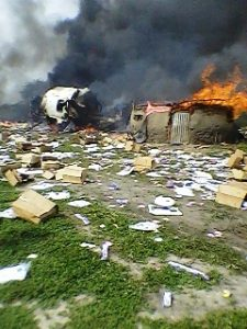 Flames and Debris at Crash Site - Photo Sudan Tribune