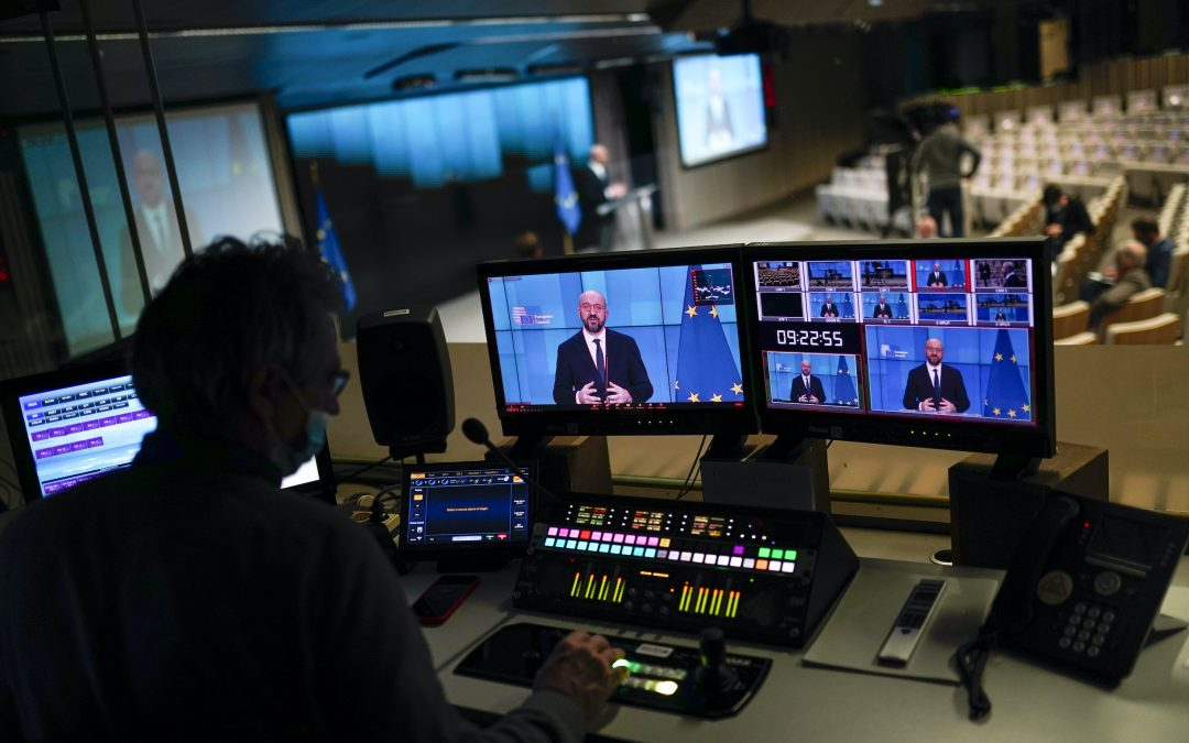European Council President Charles Michel, displayed in screens, supports new treaty - Photo Francisco Seco, Pool, AP