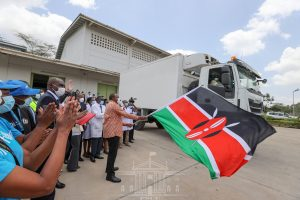 Kenyan President Flags Off First Consignment - Photo CGTN