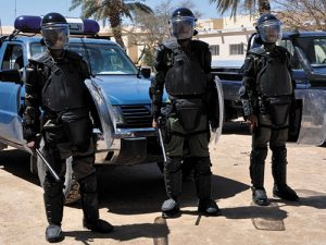 Mauritanian Politice Officers Stand Guard