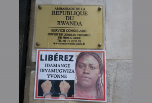 Placard Calls for Freedom for Rwandese YouTuber - Photo GLPost
