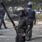 Riot Police at an Intersection near the Senegalese Parliament - Photo Finbarr O'Reilly, Reuters