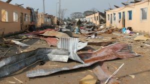 Roofs of Homes Riipped Off by the Blasts - Photo The Irish Times