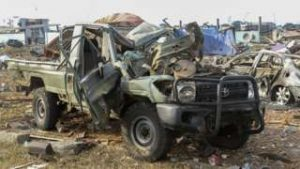 Badly Mangled Truck after the Explosions Stopped - Photo BBC