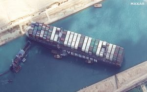 Ship Straddled and Completely Shutdown Suez Canal - Photo CNBC