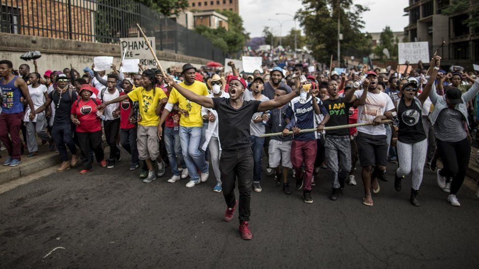 South African Students Continue with Protests - Photo BBC
