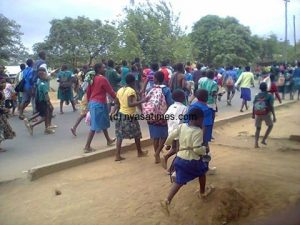 Students Demonstrating in Lilongwe - Photo Nyasa Times