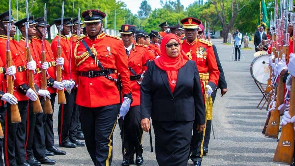 Suluhu Hassan Inspects a Guard of Honor - Photo Kenyan News