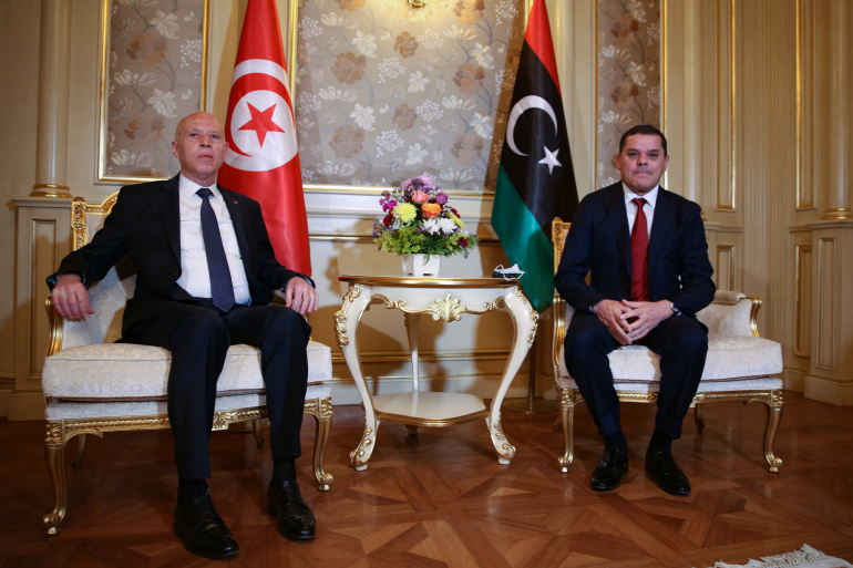 Tunisian President Kais Saied (L) meets with Libya's new interim Prime Minister Abdul Hamid Dbeibah, in Tripoli, on March 17, 2021. - Photo AFP