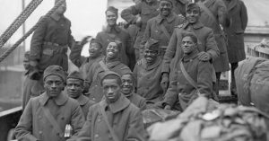 The arrival of the 369th Black infantry regiment in New York after World War One