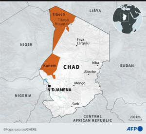 Map of Chad Showing Area Where Rebels are Active - Source AFP