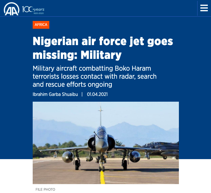 Nigerian Air Force Plane Goes Missing - Photo Pinterest