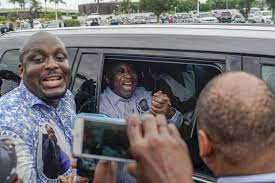 Ex-Ivoirian President Laurent Gbagbo in Limo Shortly after Arriving Abidjan - Photo AP News