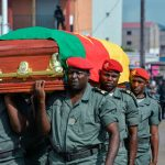 Soldiers Bear a Coffin with the Remains of One of the Four Soldiers Killed in the Ambush in Southern Cameroons - Photo AFP via Getty Images