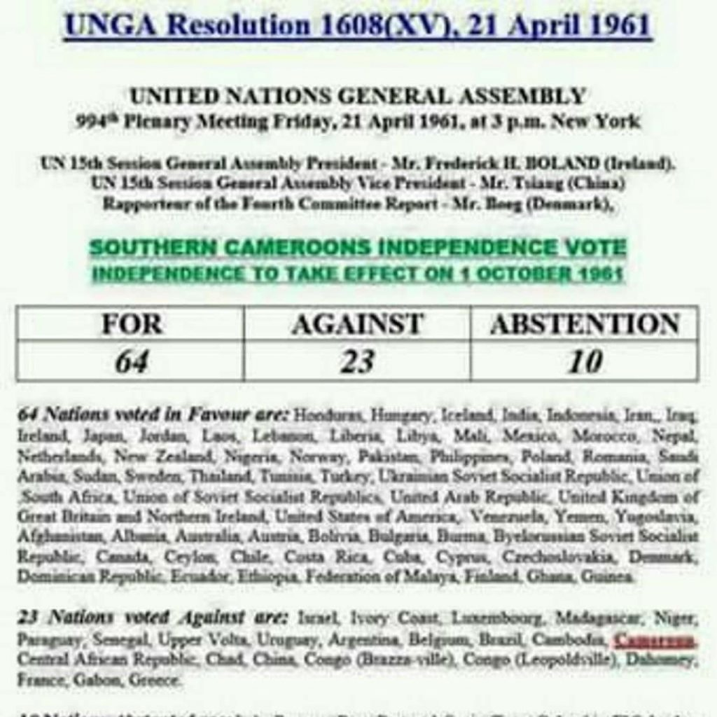 How Countries Voted on UN General Assembly Resolution 1608(XV) on Independence for Southern Cameroons